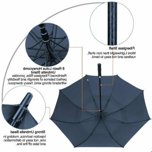 68'' Open Golf Umbrella Double Canopy Stick Blue
