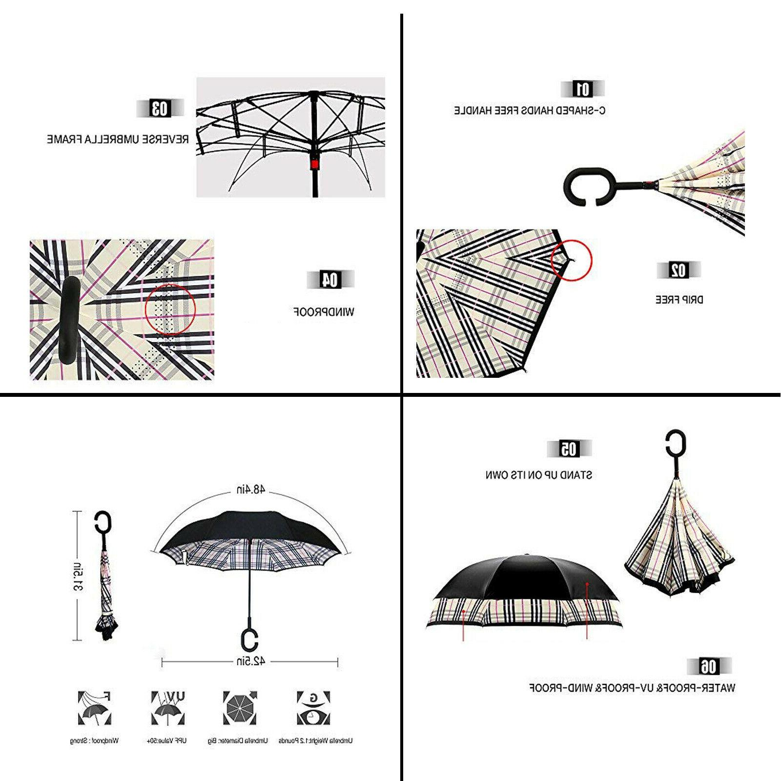 Inverted C-Handle Double Layer Umbrella Windproof Folding Upside Down