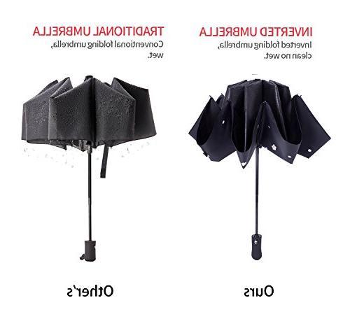 Fidus Reverse Sun&Rain Car Windproof Travel Umbrella for Women Men - Open Close