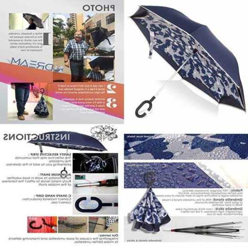 inverted umbrella blue camo golf windproof uv