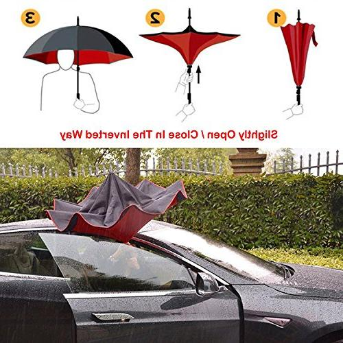 AmaGo Reverse Layer Umbrella, C-Shape Handle Self-Stand to Spare Inside-Out Cars Drivers Carrying Bag Traveling