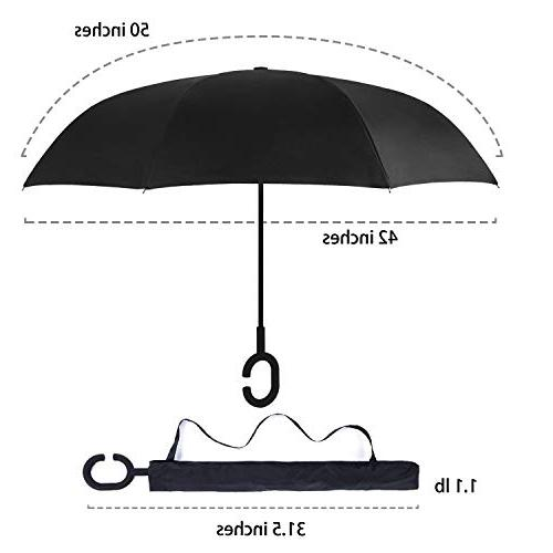 AmaGo Inverted Umbrella – Reverse Double Layer Umbrella, Self-Stand Spare Inside-Out Cars & Carrying Bag Traveling