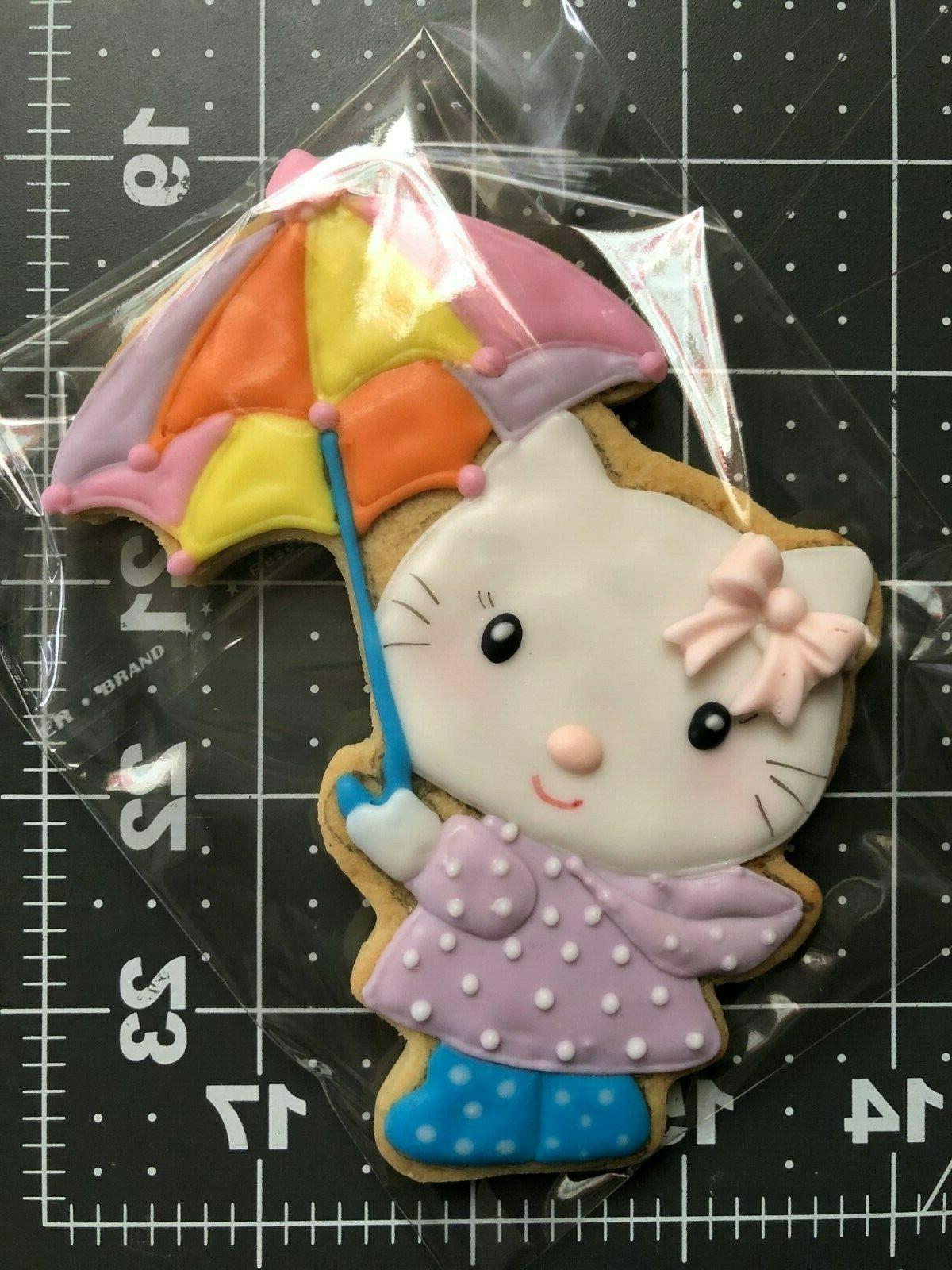 kitty with umbrella art cookies 12 cookies