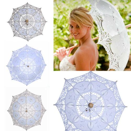 Lace Parasol Umbrella Beautiful Vintage Handmade For Bridal