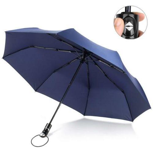 Navy 45Inch Compact Folding Umbrella Auto Open Close Waterpr