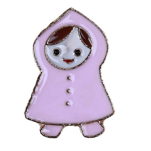 little girl raincoat and umbrella enamel collar