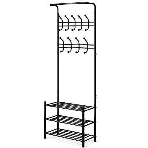 metal entryway coat rack hooks