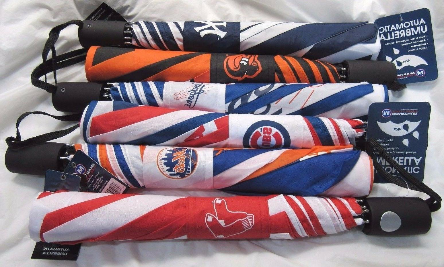 mlb 42 auto fold travel umbrella made