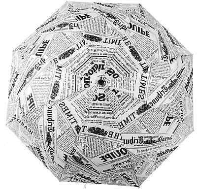 Modern Novelty Newspaper Pattern Folding Unisex Umbrella for