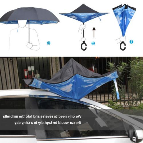USA Double Layer Down Inverted Umbrella C-handle Reverse-Design