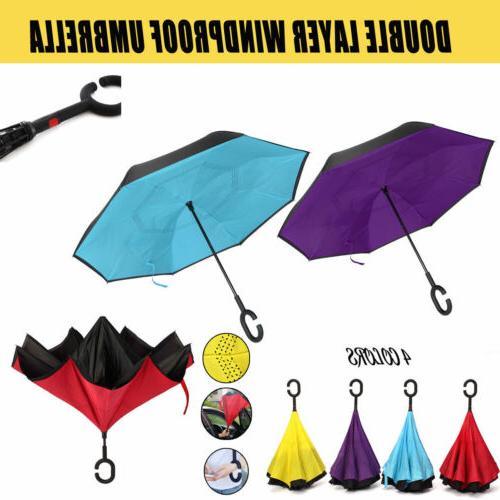 Anti UV C-Handle Reverse Umbrella Double Layer Upside Down I