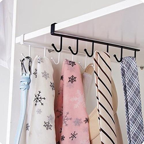 AUCH 2Pcs Nail Free Cup Coffee Clapboard Interlayer Hanger Rack, White