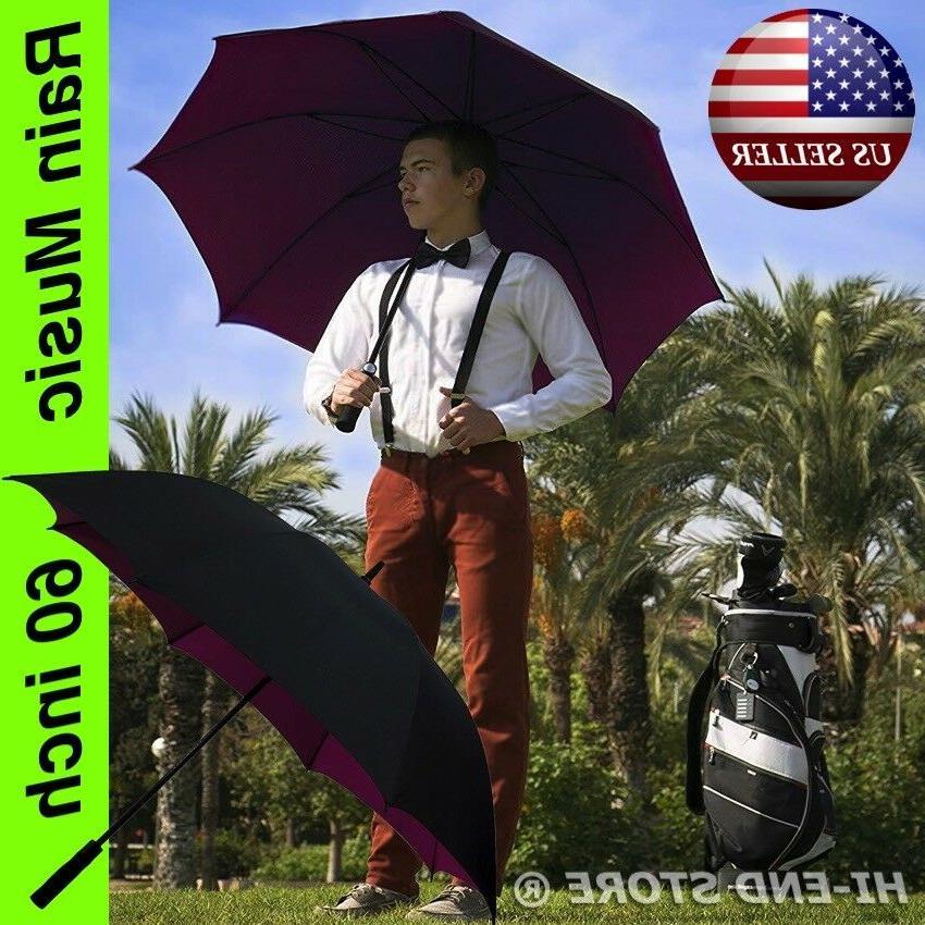 "New - 60"" Golf Stick Umbrella Windproof Fiberglass"