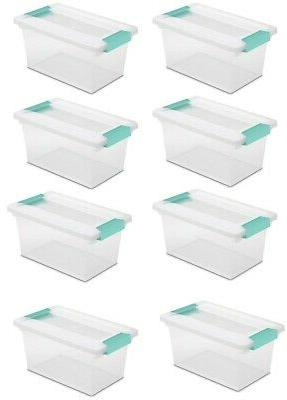 New Sterilite Medium Clip Box Clear Storage Tote Container w
