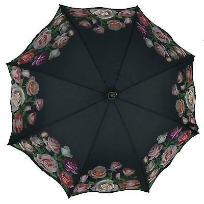 New CTM Women's Open Rose Print Umbrella