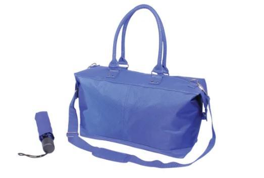 nylon tote and umbrella set blue