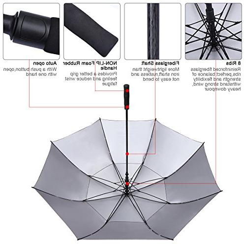 G4Free inch Windproof umbrella Double Canopy Vented Protection Stick Umbrellas Gifts men