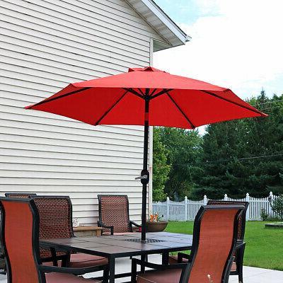 Sunnydaze 7.5 Foot Outdoor Patio Umbrella with Tilt & Crank,