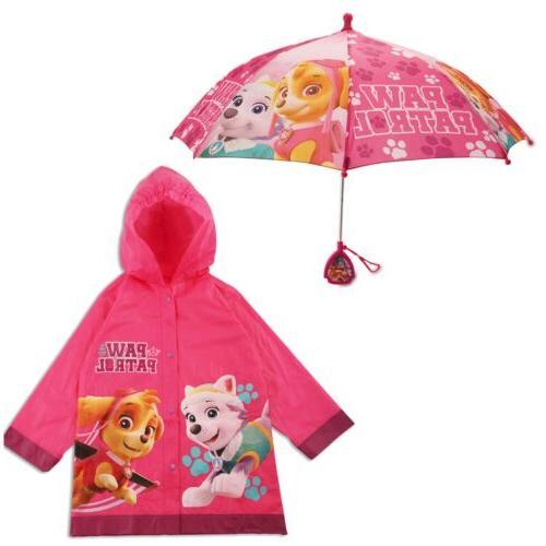 paw patrol slicker and umbrella rainwear set