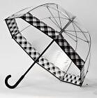 Premium Elite Fiberglass Clear Bubble Dome Umbrella With Bla