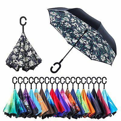 Reverse Inverted Double Waterproof Straight Umbrella Inside-
