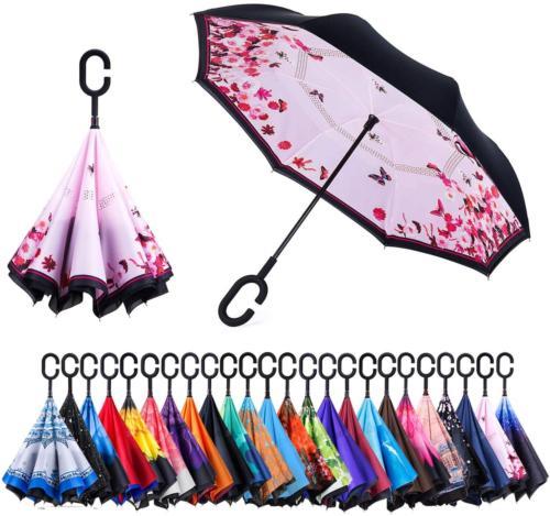 Newsight Reverse Umbrella, Double Layer Inverted Umbrella Up
