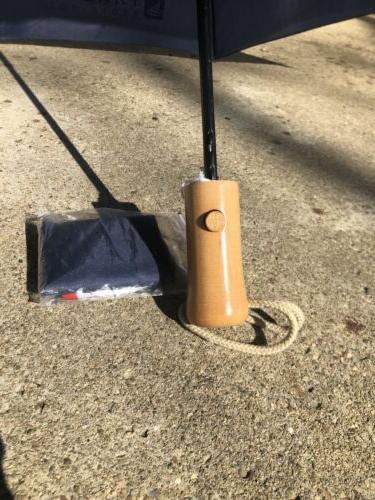 StrombergBrand Top Slider Umbrella Navy Wood Handle