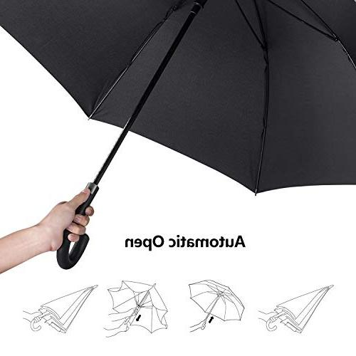 Leebotree Auto Open Windproof Umbrella 51 Inch Large Waterproof and J for Men