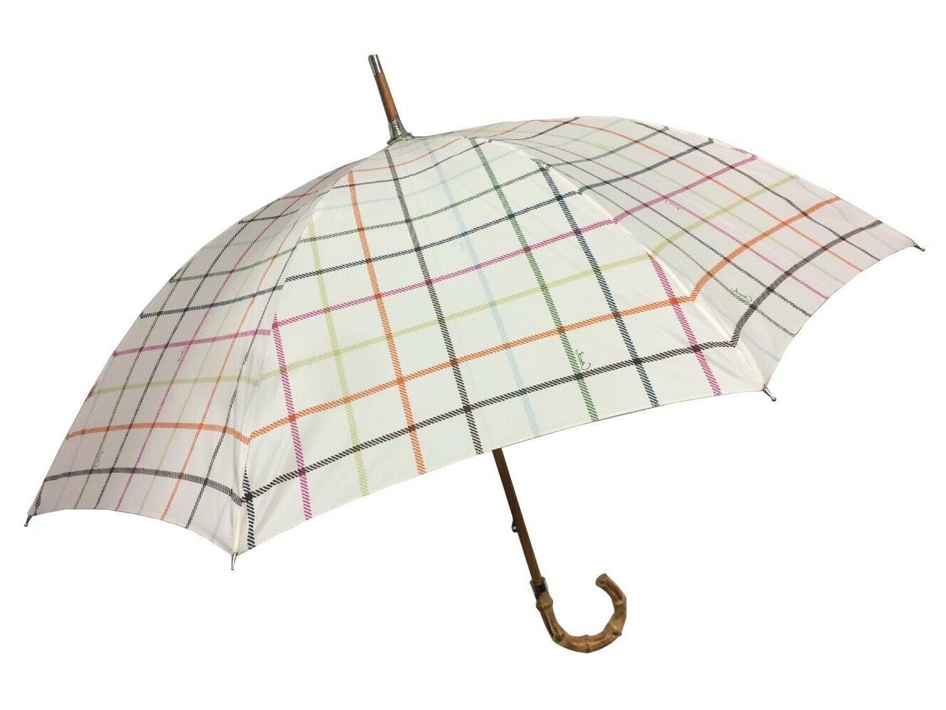 tattersall stick umbrella bamboo handle nwt msrp