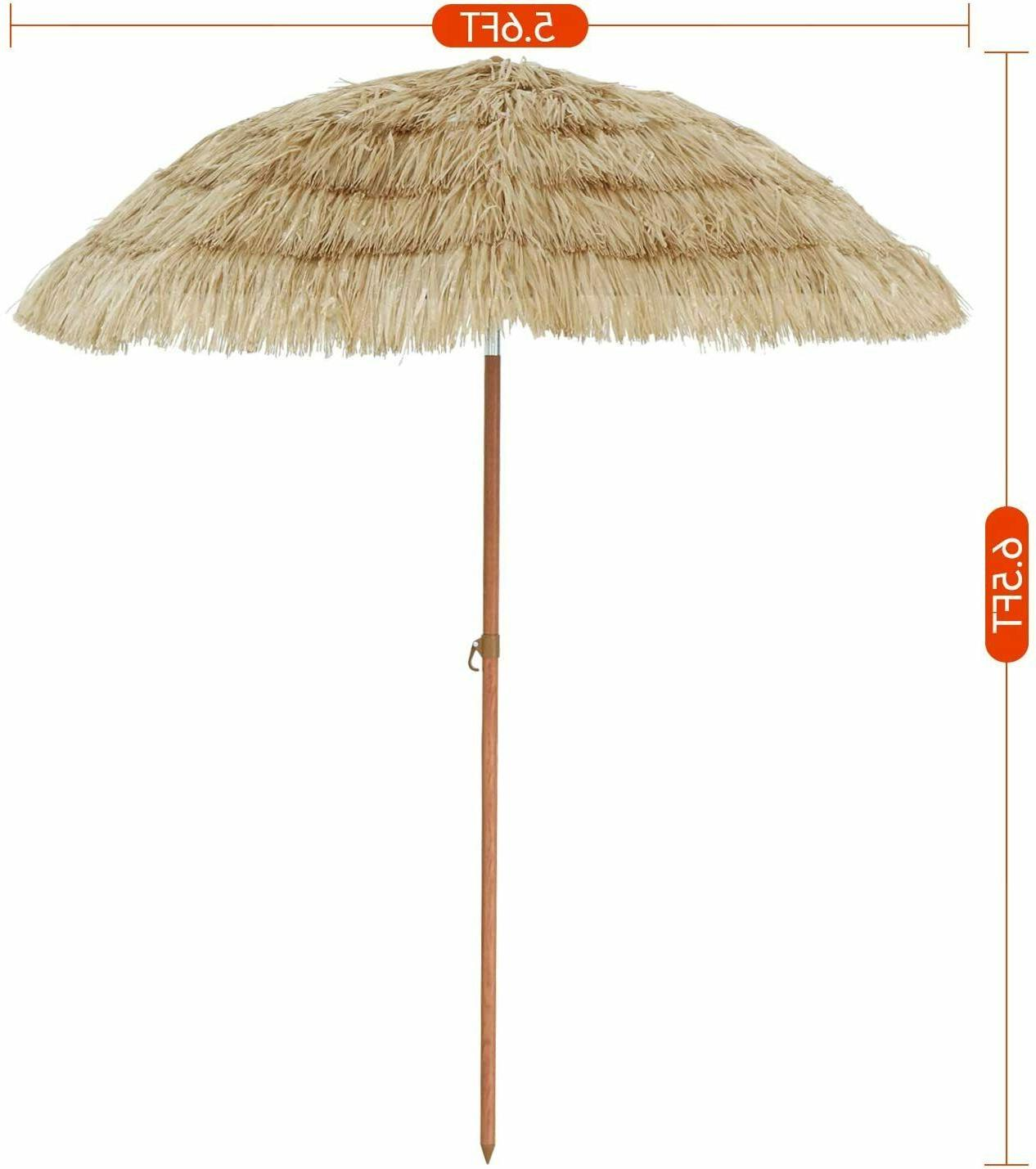 Thatched Beach 6ft Pool Hawaiian Tropical Umbrella