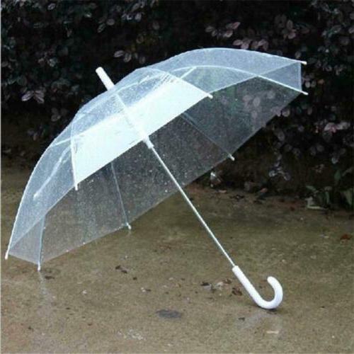 transparent clear umbrella long handle straight stick