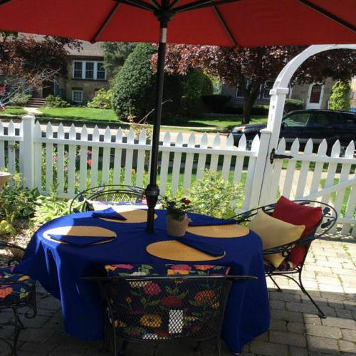 umbrella hole patio tablecloth 84 round easycare