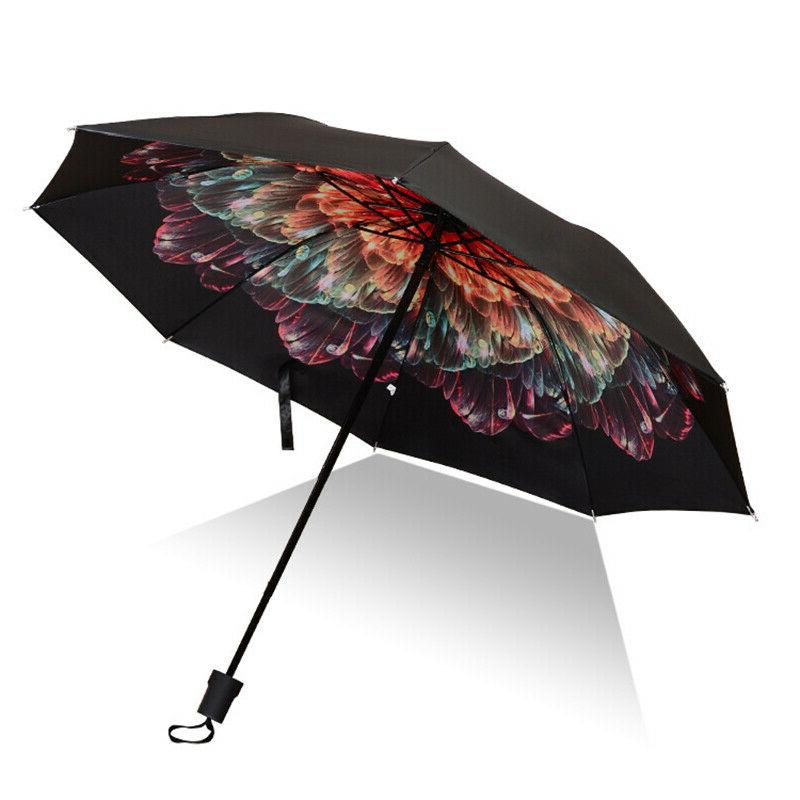Windproof Rain Down Inverted Folding Handle Umbrella