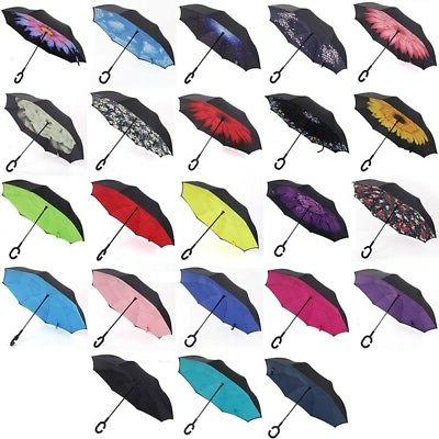 Upside Down Inverted C-handle Umbrella Double Layer Windproo