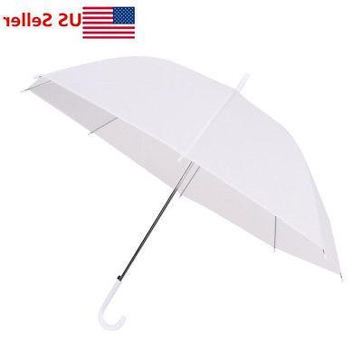 US Dome White Umbrella Large Clear Scrub Parasol Sun Rain Wa