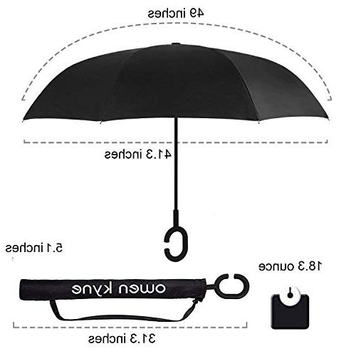 Owen Kyne Windproof Double Layer Umbrella, Self Rain Protection Car with C-Shaped Handle