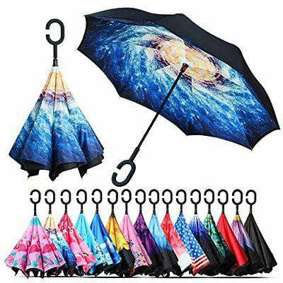 windproof double layer folding inverted interstellar blizzar