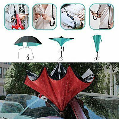 Owen Kyne Windproof Layer Folding Inverted Umbrella, A_New Sunflower