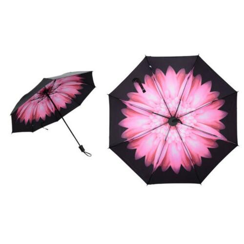 Folding Umbrella Flower Rain Parasol Black