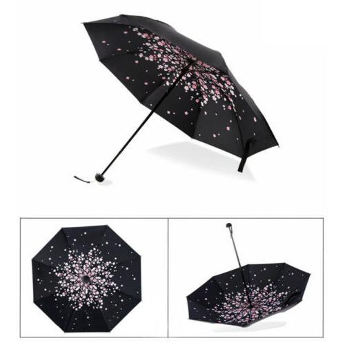 Folding Umbrella Windproof Flower Rain Parasol Coated