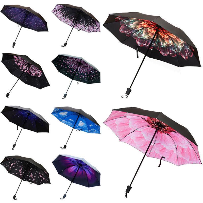 Windproof Anti-UV Sun Rain Protection Flower Compact Folding