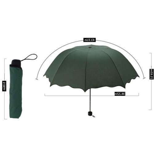 Women Windproof Compact Rain Sun Umbrella Folding Travel