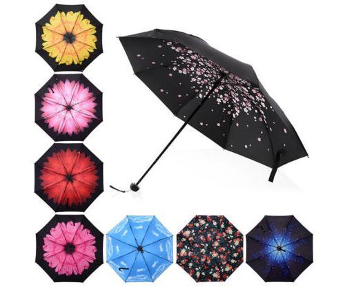 Women Rain Sun Parasol Folding Portable
