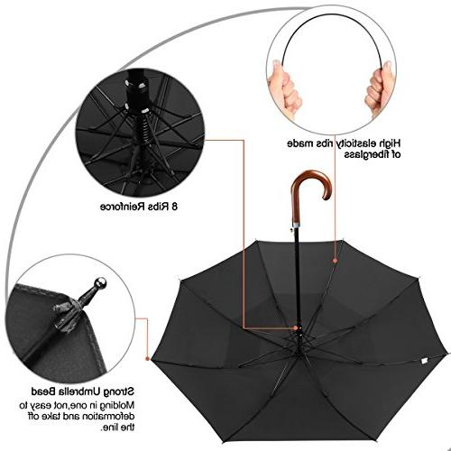 G4Free Classic Umbrella Auto Large Double Canopy Vented Rainproof Cane Stick Umbrellas for