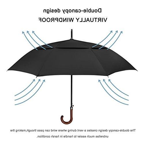 G4Free Classic Umbrella Windproof Auto Open inch Large Oversized Vented Rainproof Cane Stick Umbrellas Men
