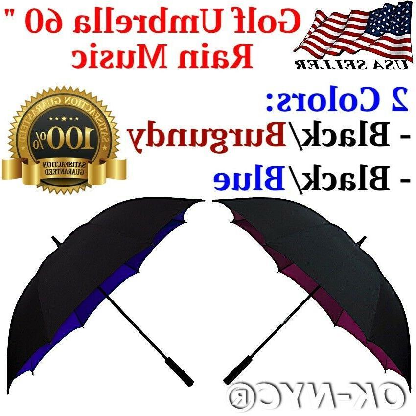 """Rain Music"" XL 60"" Automatic Golf Umbrella Windproof"