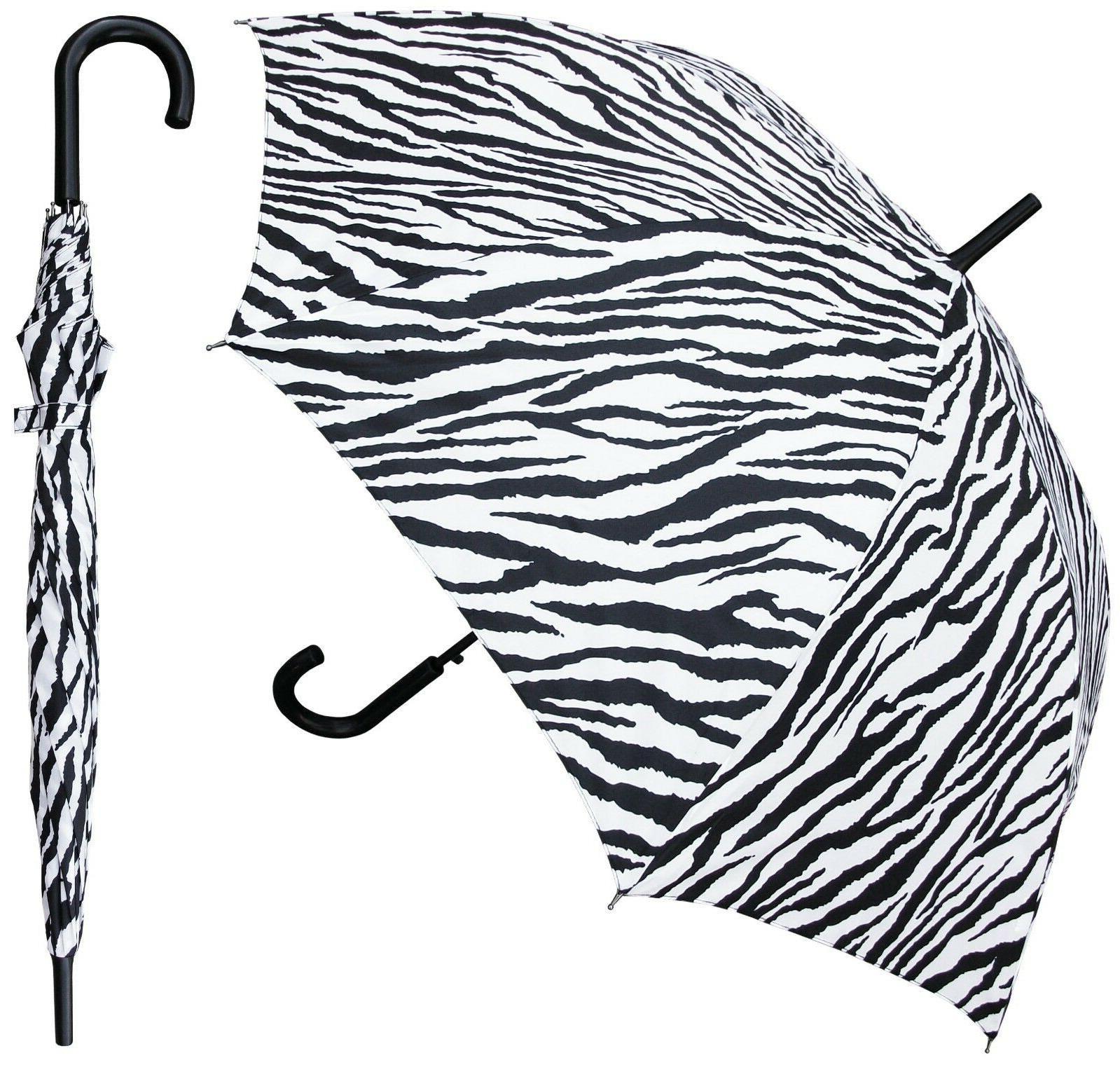 Zebra Print 48 Inch Stick Umbrella Hook Handle