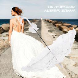 Lace Cotton Embroidery Wedding Parasol Umbrella Bridal Bride