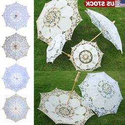 Lace Parasol Umbrella Beautiful Vintage Handmade For Bridal