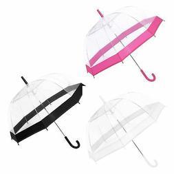 "Large 31"" Clear See Through Dome Umbrella Ladies Transparent"